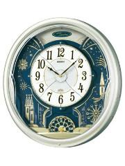 - 毎正時にメロディと文字盤が、変化するからくり時計- 毎正時にメロディ6曲が、順番に奏でながら文字盤が回転しながら変化します。 デザインと機能 ●クォーツ(電波時計)プラスチック枠(薄金色パール塗装光沢仕上げ) ●HiFiメロディ・自動鳴止め(室内が暗い時)・音量調節・LEDライト ●電池寿命約1年、単1アルカリ電池×4本/単3マンガン電池2本 ●縦468mm×横424mm×厚み109mm 重量3.5kg ※注意 掛時計としては、重量のある時計ですので、掛ける時は充分注意をしてください。 場所によっては、補強が必要になる場合があります。