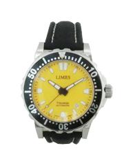 型番U8787-LA2.5ムーヴメントETA2824(自動巻き)日付けケースSS ねじ蓋直径41.6X厚12.3mm1,000M防水サファイアクリスタル文字盤黄色ストラップレザー(ブラック)